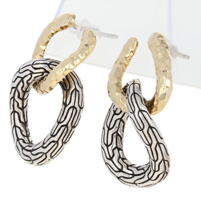 John Hardy Hammered Double Circle Classic Chain Earrings Sterling Silver & Yellow Gold