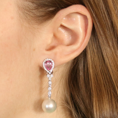 2.63ctw Pink Sapphire, Diamond, & Pearl Earrings White Gold