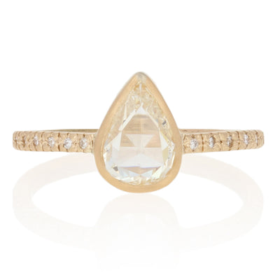 Rose Cut Pear Diamond Engagement Ring 1.13ct