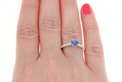Sapphire & Diamond Solitaire Engagement Ring 1.12ctw