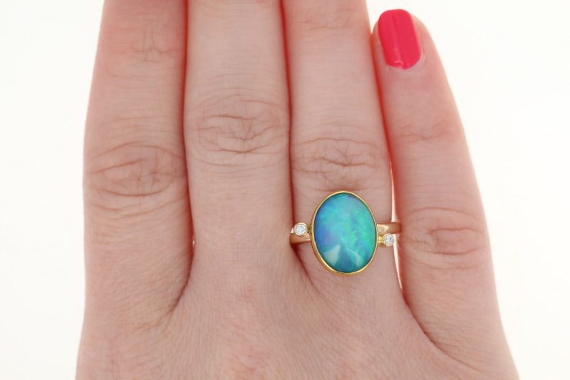 Welo Opal & Diamond Ring