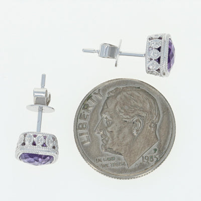 Amethyst Stud Earrings 1.90ctw