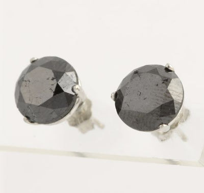 Black Diamond Stud Earrings 6.63ctw