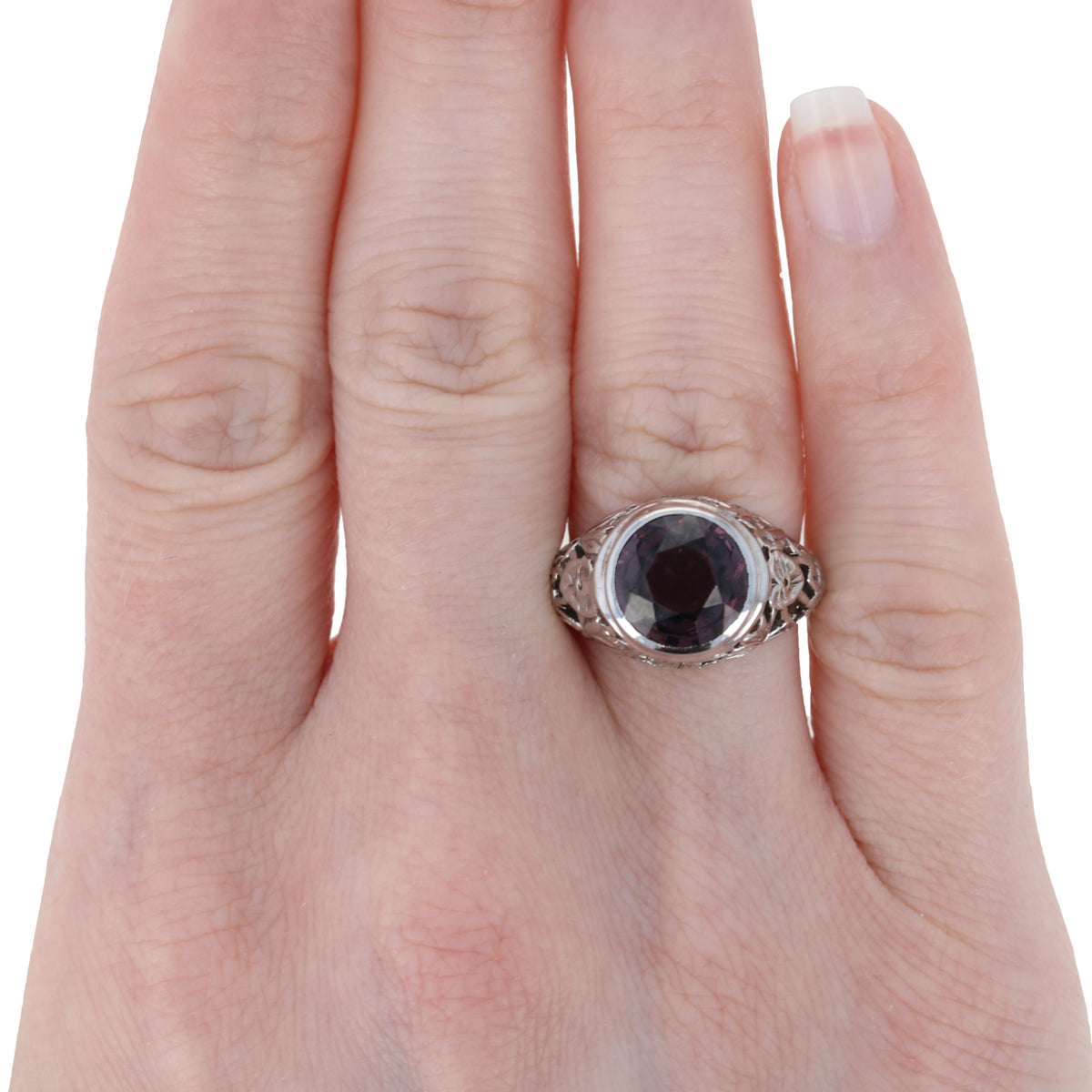 4.66ct Purple Spinel Ring White Gold