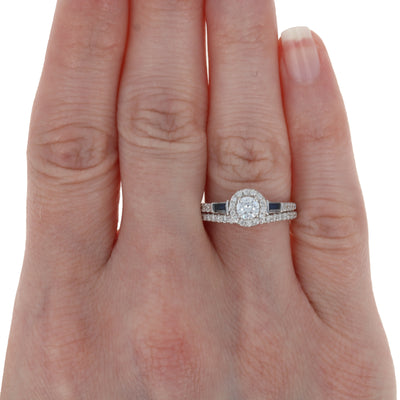 Semi-Mount Engagement Ring & Wedding Bands White Gold