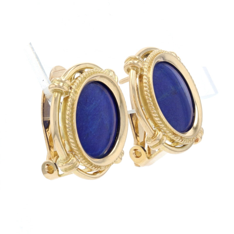 Lapis Lazuli Earrings Yellow Gold