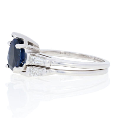 Sapphire & Diamond Engagement Ring & Wedding Band 1.32ct