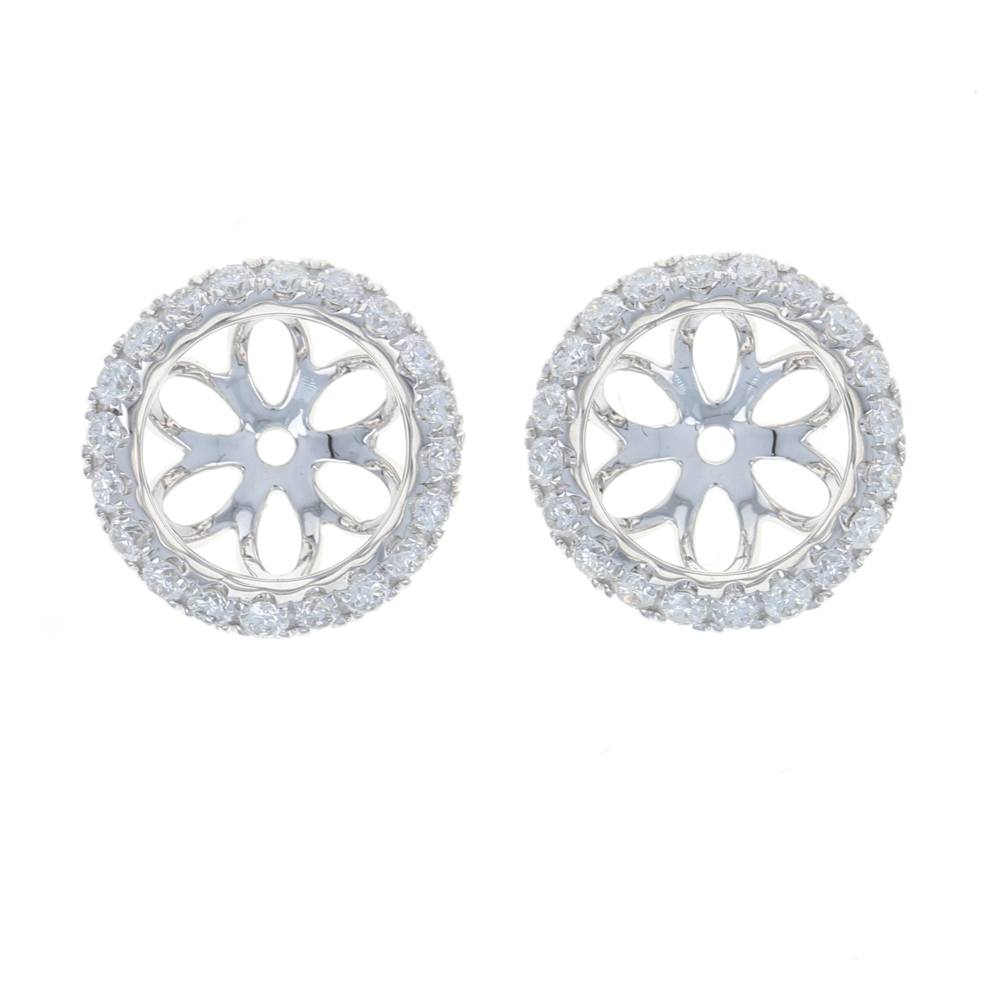 .47ctw Diamond Halo Earring Enhancer Stud Jackets White Gold