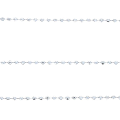 Diamond Cut Bead Chain Necklace White Gold