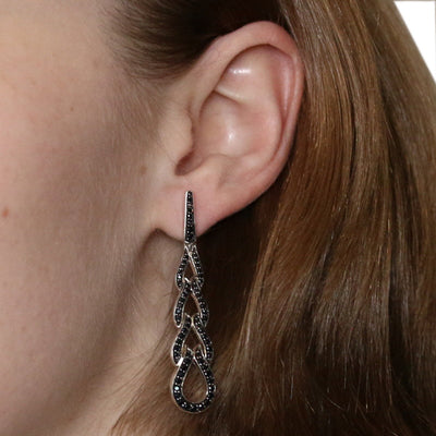 John Hardy Classic Chain Black Sapphire Earrings Sterling Silver