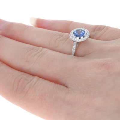 1.40ct Sapphire & Diamond Ring White Gold