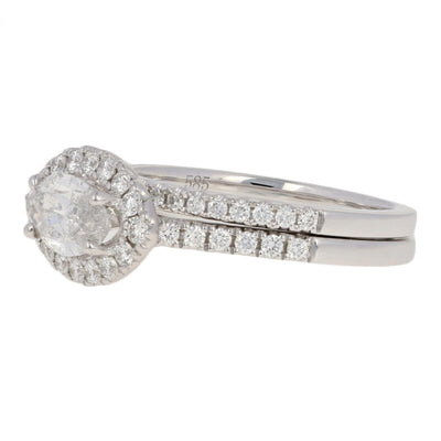 Marquise Diamond Halo Engagement Ring & Wedding Band
