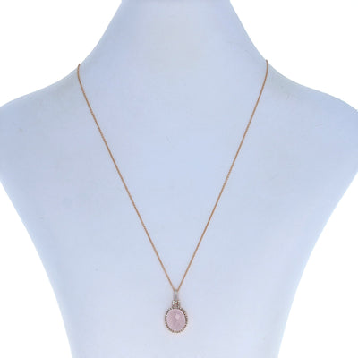 6.30ct Rose Quartz & Diamond Pendant Necklace Rose Gold