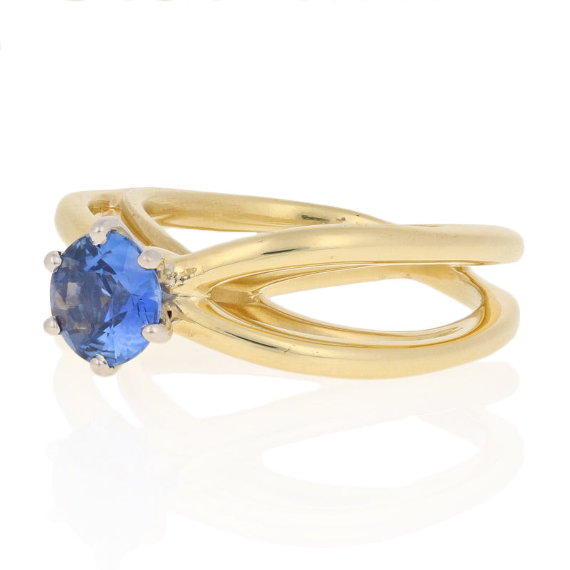 Tiffany & Co. .86ct Sapphire Ring Yellow Gold & Platinum