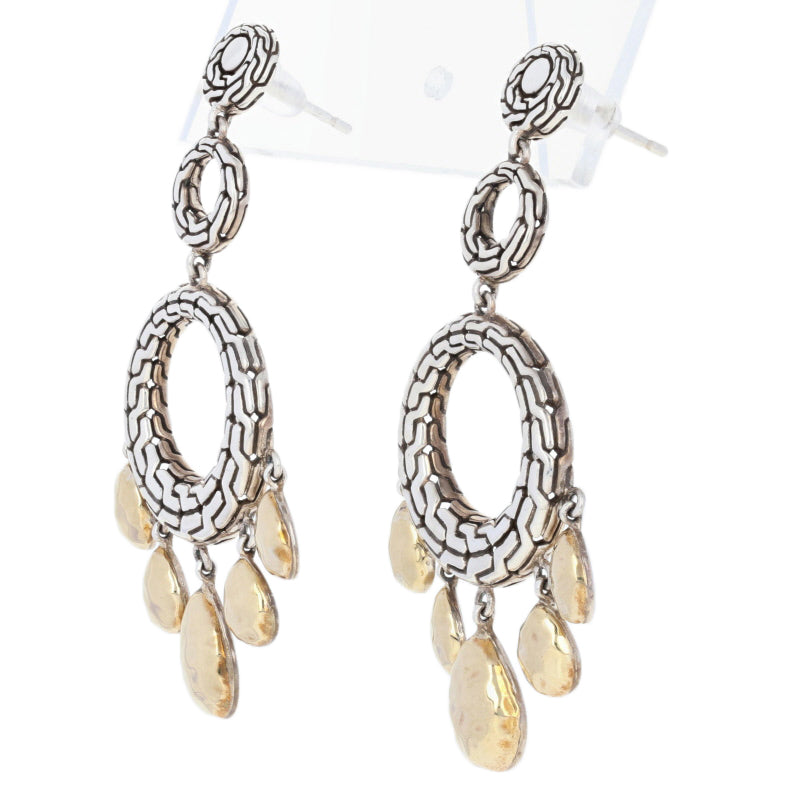 John Hardy Classic Chain Hammered Circle Earrings Sterling Silver & Yellow Gold