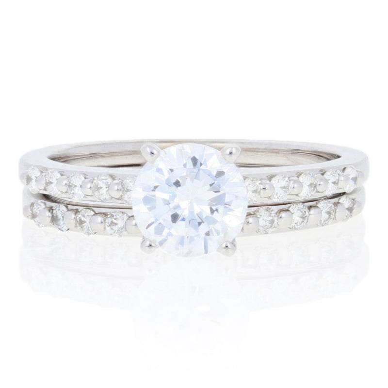 Semi-Mount Engagement Ring & Wedding Band White Gold