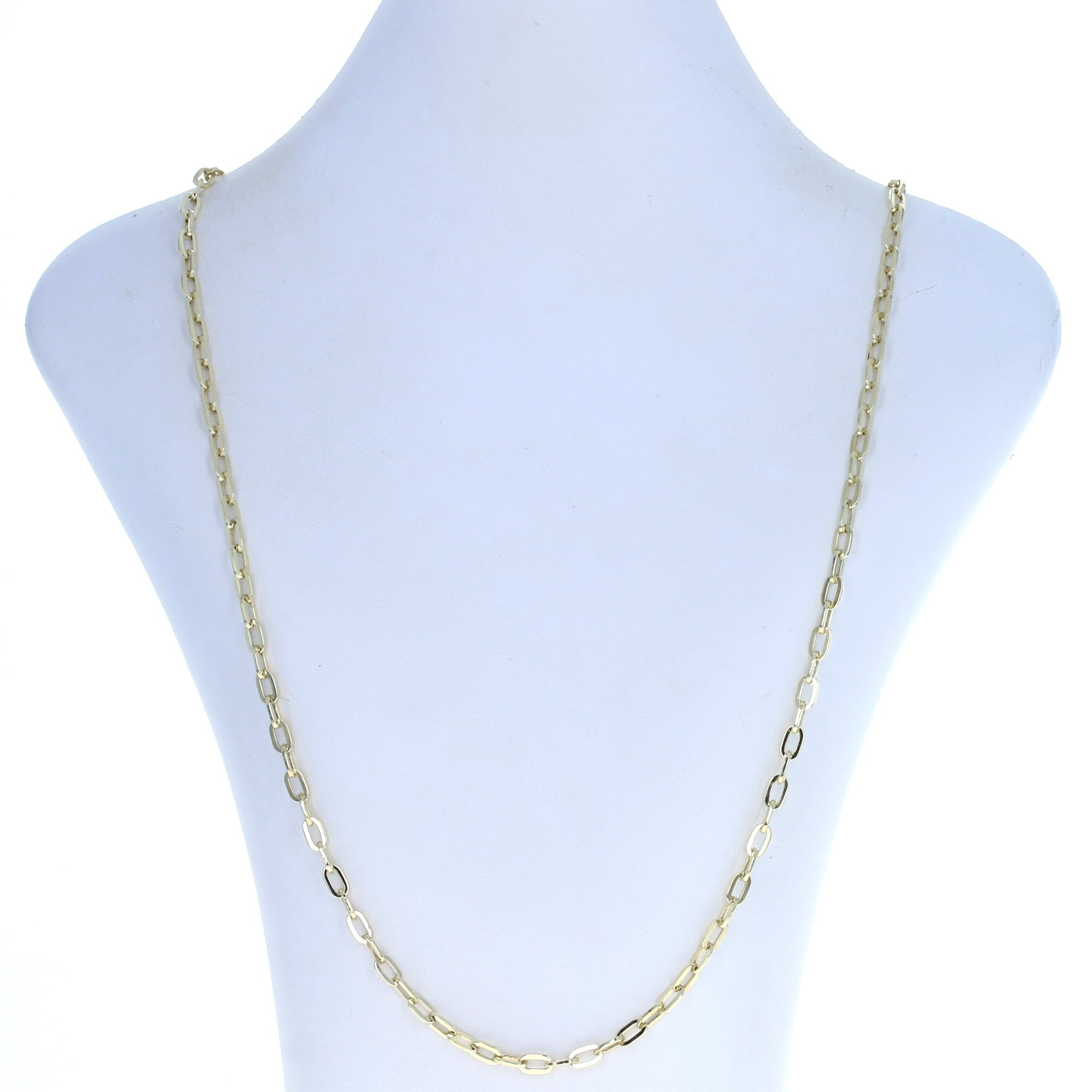 Elongated Flat Cable Chain Necklace Yellow Gold