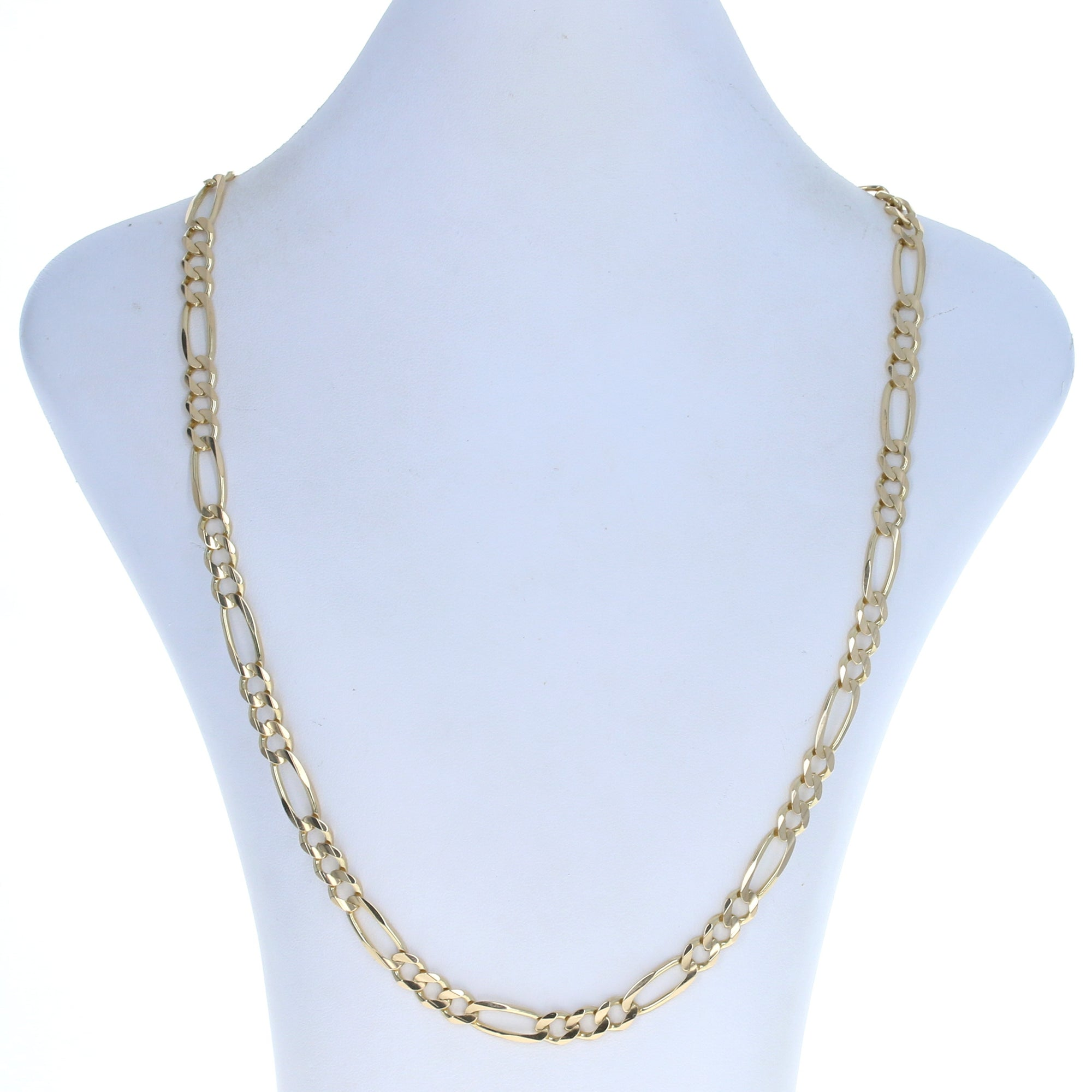 Diamond Cut Figaro Chain Men's Necklace Yellow Gold