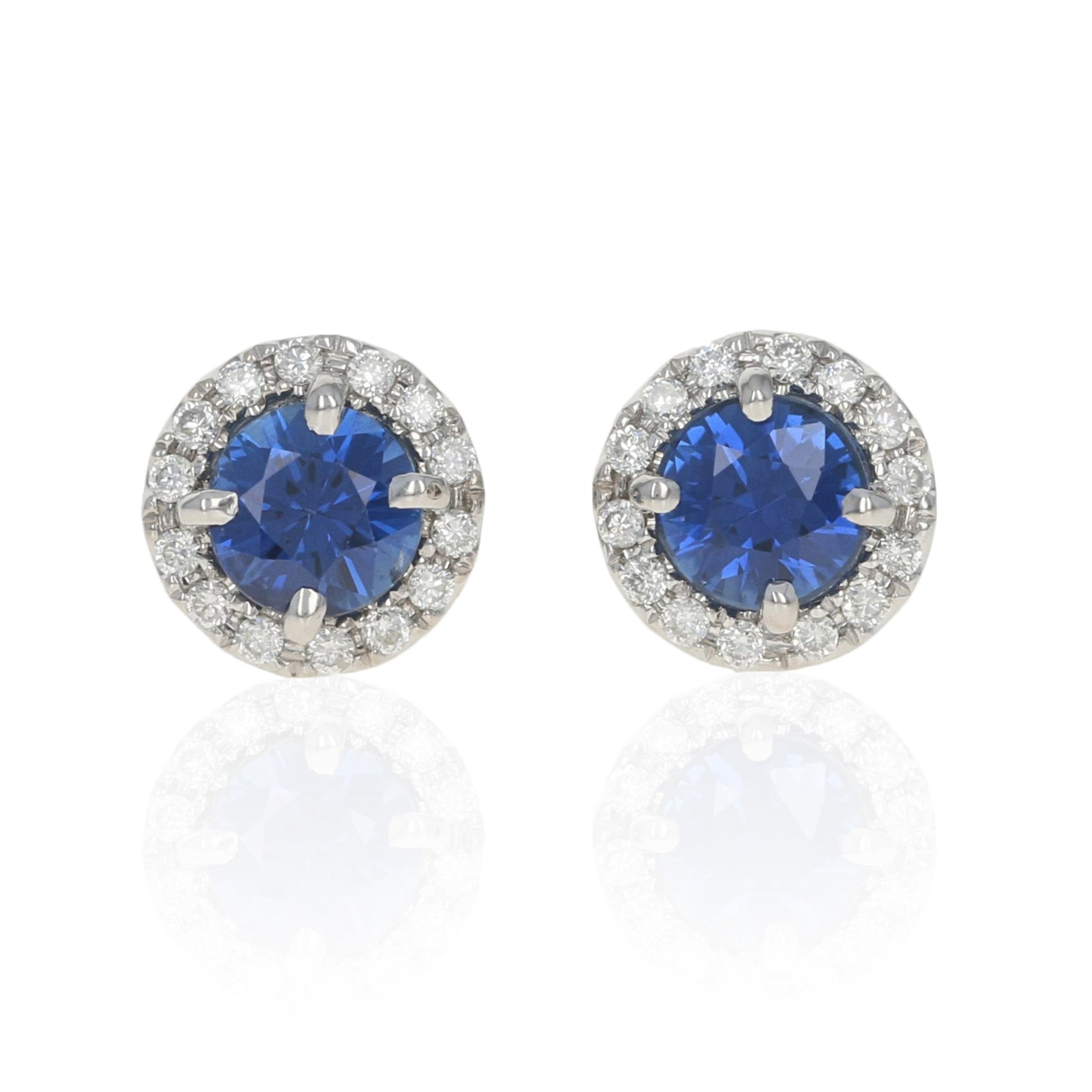 .72ctw Sapphire & Diamond Halo Earrings White Gold
