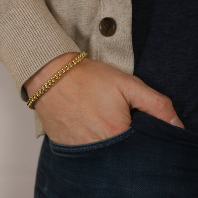 Fancy Woven Cable Chain Bracelet Yellow Gold