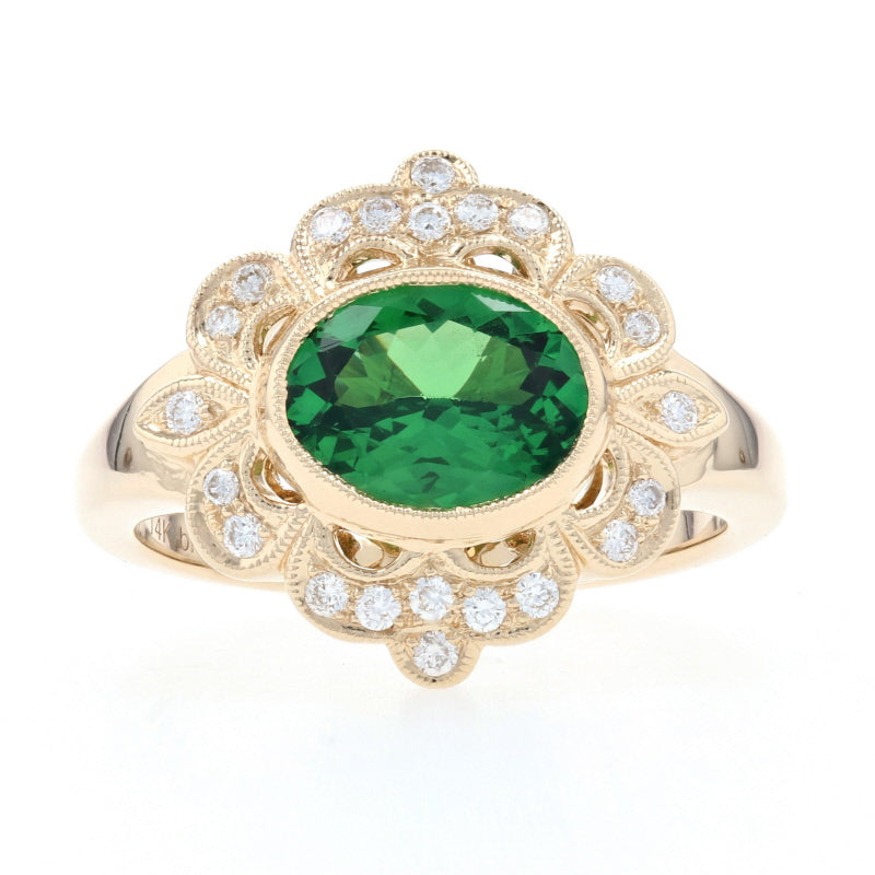 1.78ct Tsavorite Garnet & Diamond Yellow Gold