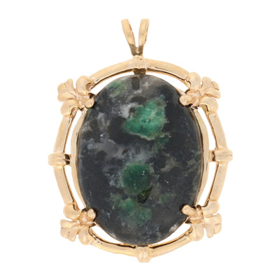 Emerald in Matrix Pendant Yellow Gold