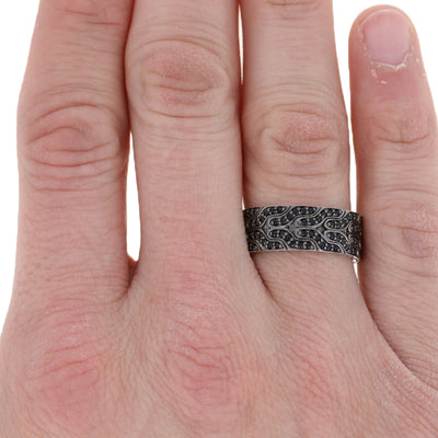 John Hardy Lava Black Sapphire Classic Chain Men's Ring Sterling Silver