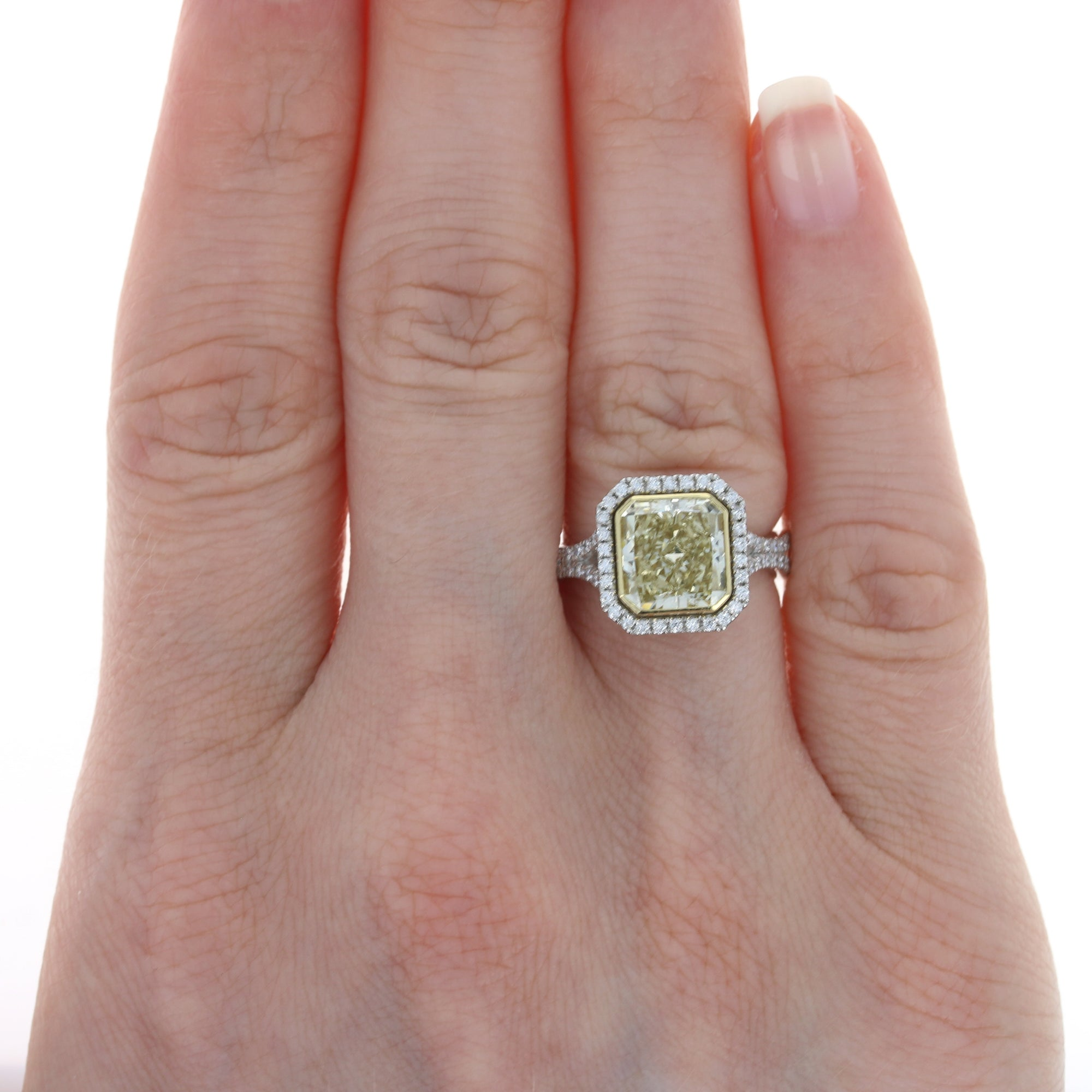 2.74ct Fancy Yellow Diamond Ring Platinum & Yellow Gold