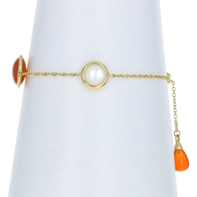 Chalcedony & Mother of Pearl Bracelet Yellow Gold