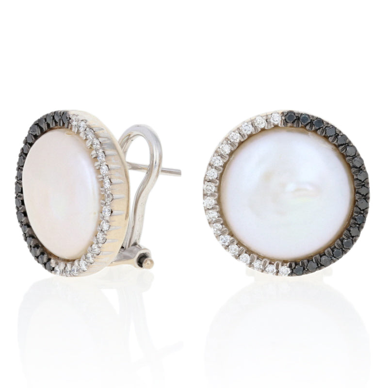 Button Pearl & Diamond Earrings White Gold