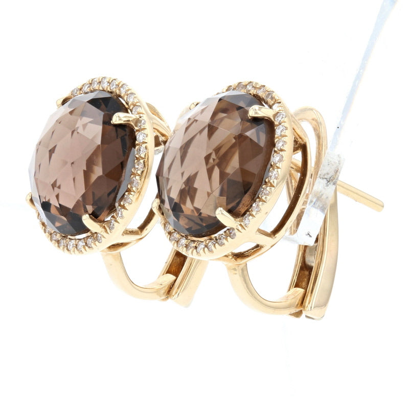 8.00ctw Smoky Quartz & Diamond Halo Earrings Yellow Gold