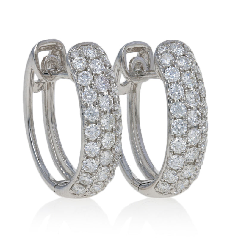 1.25ctw Diamond Hoop Earrings White Gold