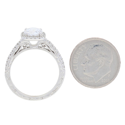 Semi-Mount Square Halo Engagement Ring  .29ctw