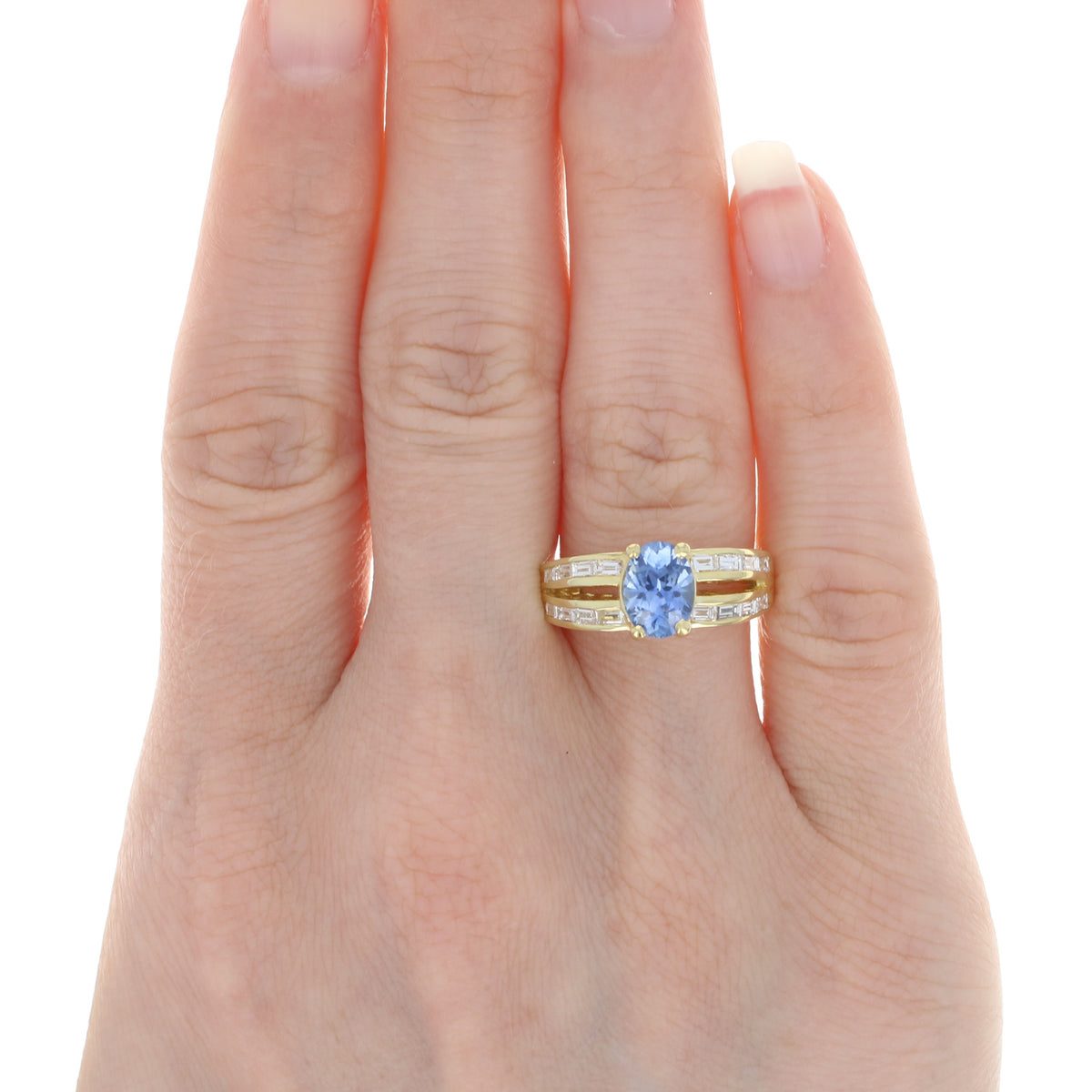 1.48ct Sapphire & Diamond Ring Yellow Gold