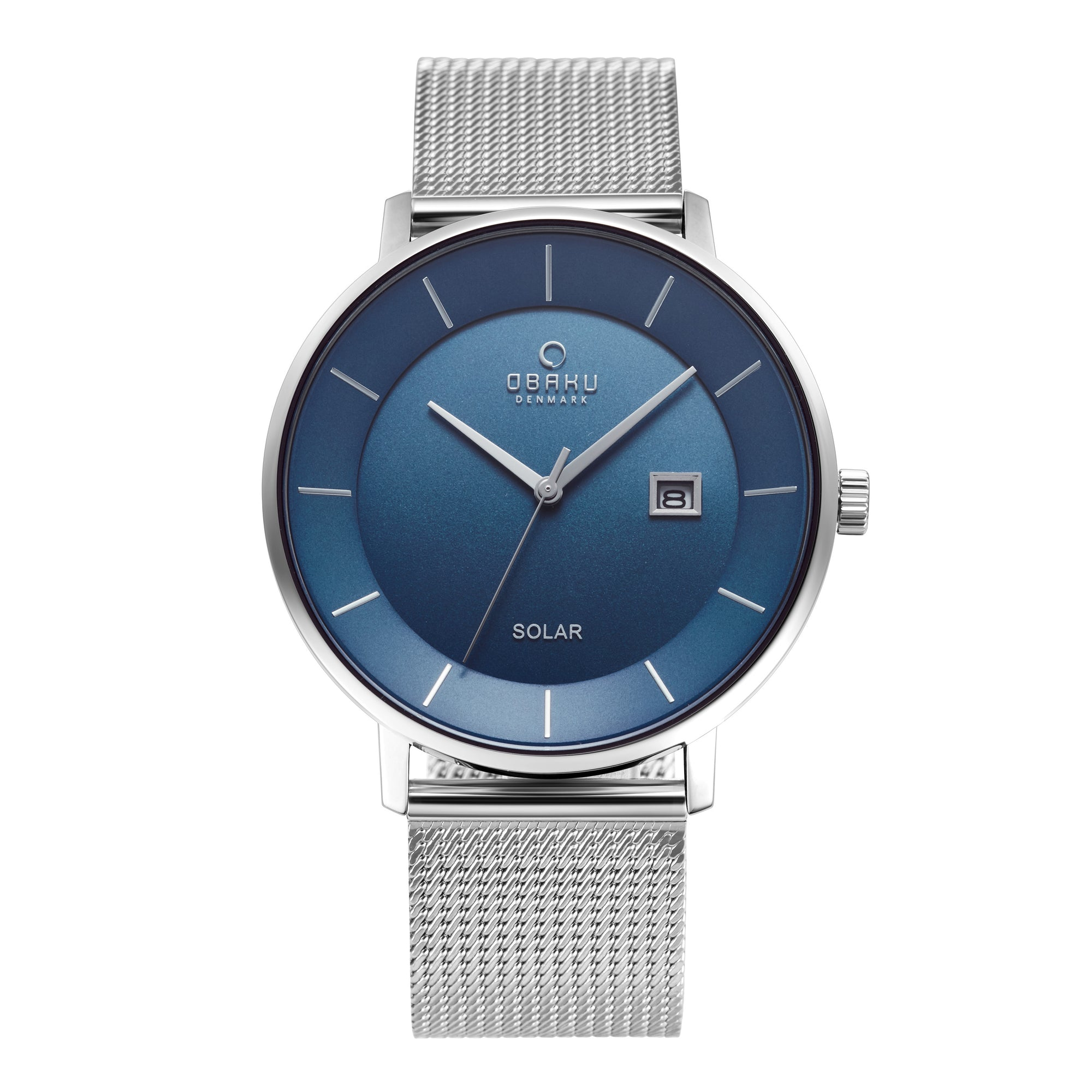 Obaku Nordlys Cyan Men's Watch Steel Blue Dial Solar V222GRCLMC