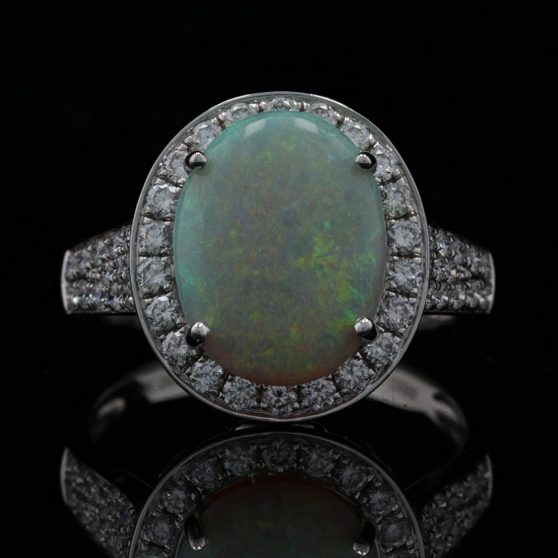 3.41ct Opal & Diamond Ring White Gold