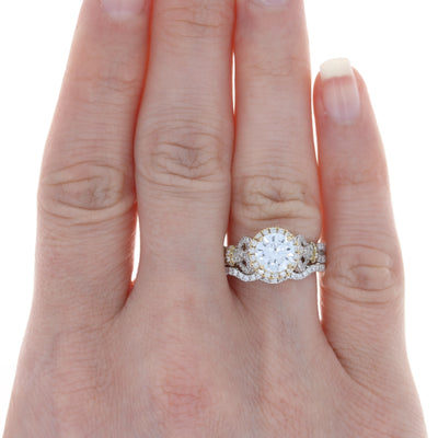 Semi-Mount Halo Engagement Ring & Wedding Band White Gold