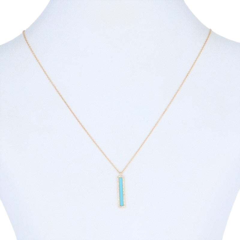 Turquoise & Diamond Halo Pendant Necklace