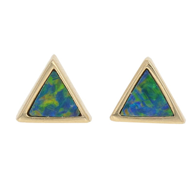 Black Opal Doublet Triangle Earrings