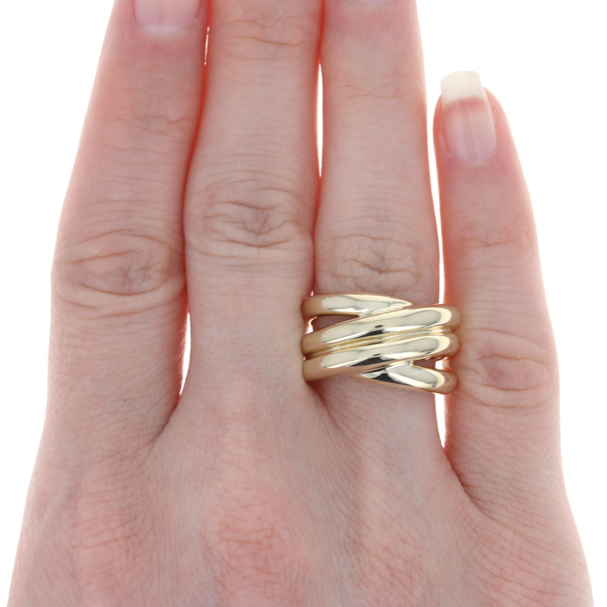 Crossover Statement Ring Yellow Gold