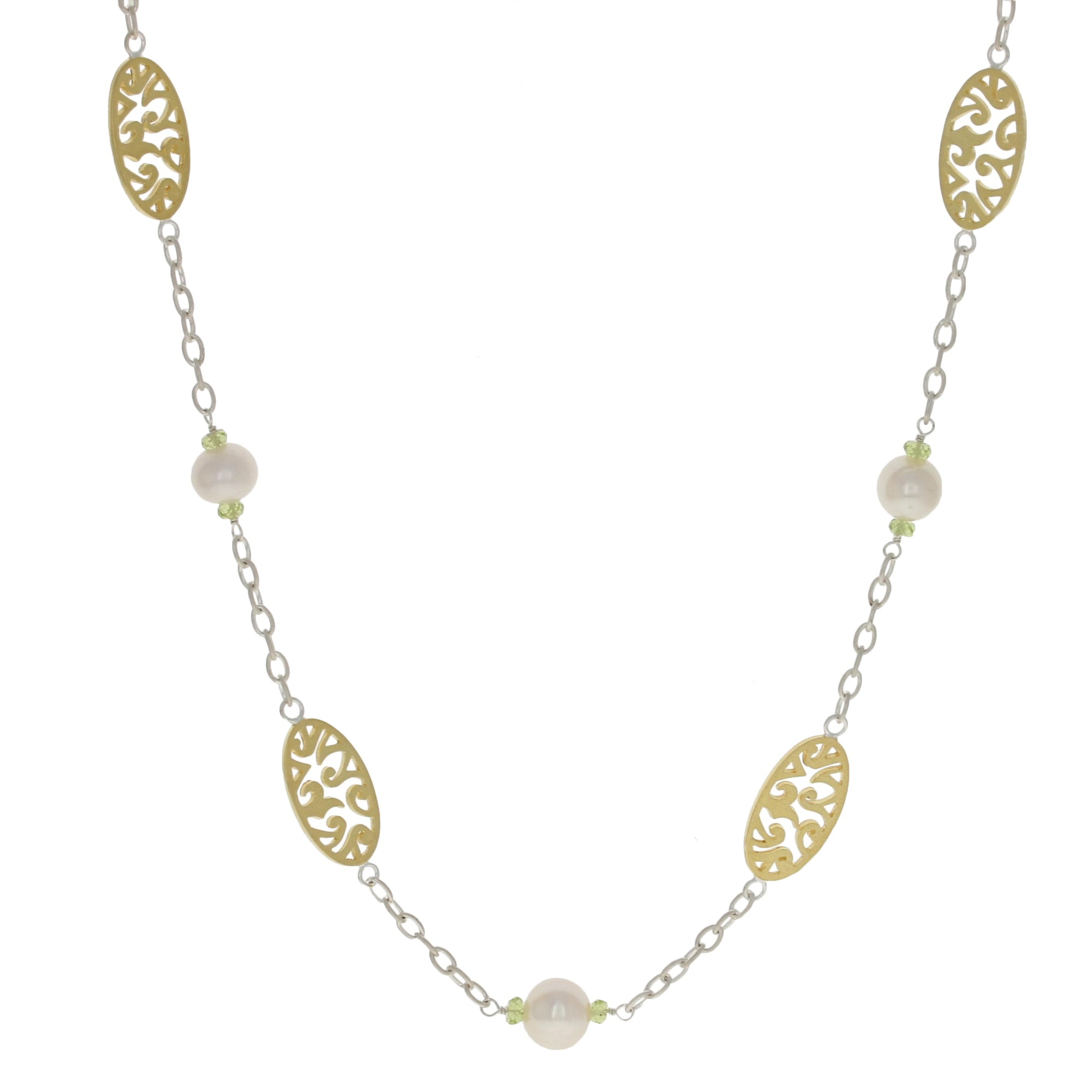 Cultured Pearl & Peridot Sara Blaine Sterling Silver Necklace