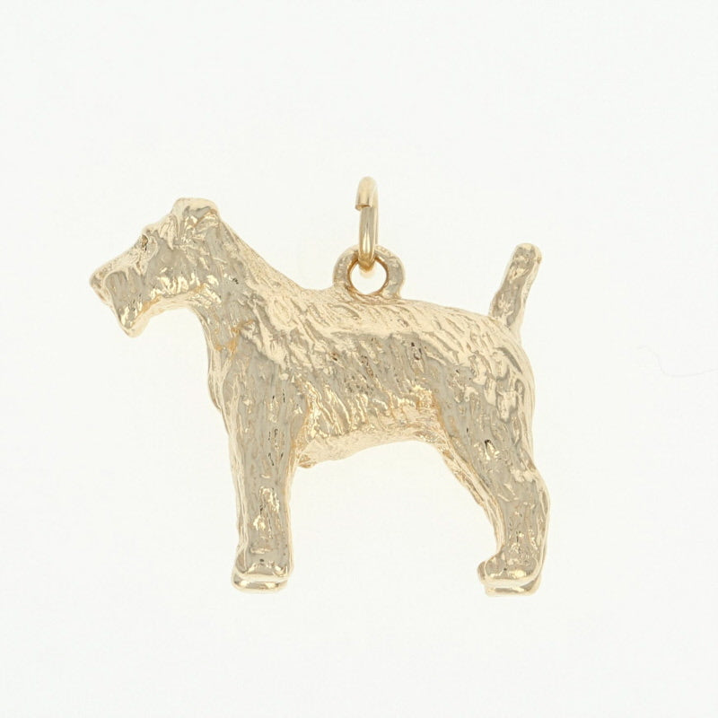 Terrier Dog Charm Yellow Gold