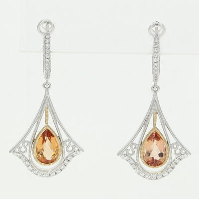 Imperial Topaz & Diamond Earrings  2.61ctw