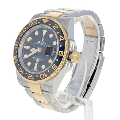 Rolex GMT-Master II Men's Watch Stainless & 18k Gold Automatic 2 Yr Wnty 116713