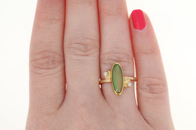 Welo Opal & Diamond Bypass Ring - 14k & 22k Gold Size 6 3/4