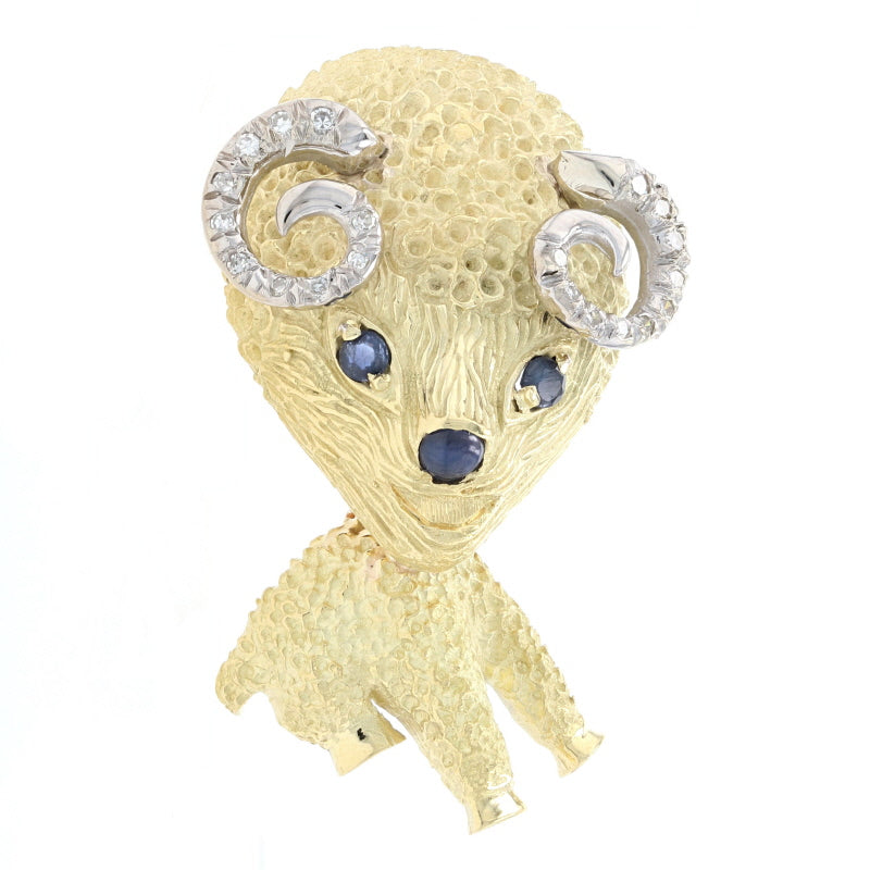 .45ctw Sapphire & Diamond Ram Brooch Yellow Gold