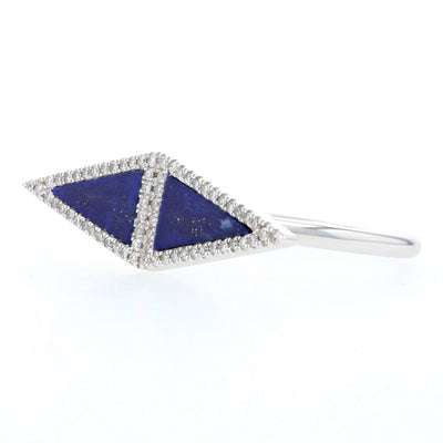 Lapis Lazuli & Diamond Ring White Gold