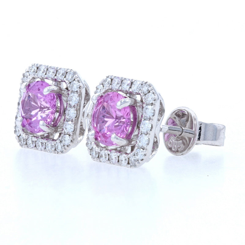 1.72ctw Pink Sapphire & Diamond Earrings White Gold