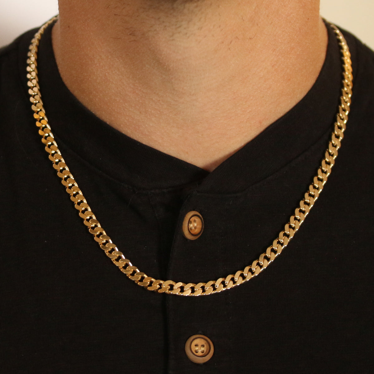 Diamond Cut Curb Chain Necklace Yellow Gold