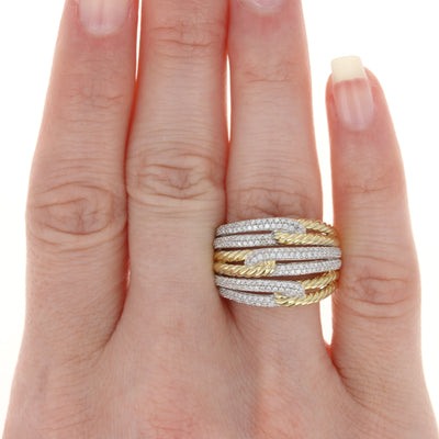 David Yurman Labyrinth Triple-Loop Diamond Ring Yellow Gold